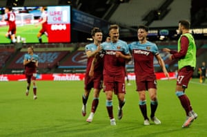 Andriy Yarmolenko celebrates scoring the third goal for West Ham late in the game.