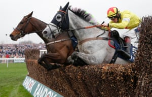 Politologue (near) jumps the final fence and goes on to beat Min in the JLT Melling Steeplechase