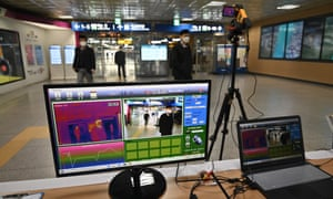 A thermal camera set up to monitor the body heat of passengers at a train station in Daegu.