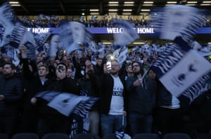 Tottenham fans enjoy themselves during the opening ceremony.