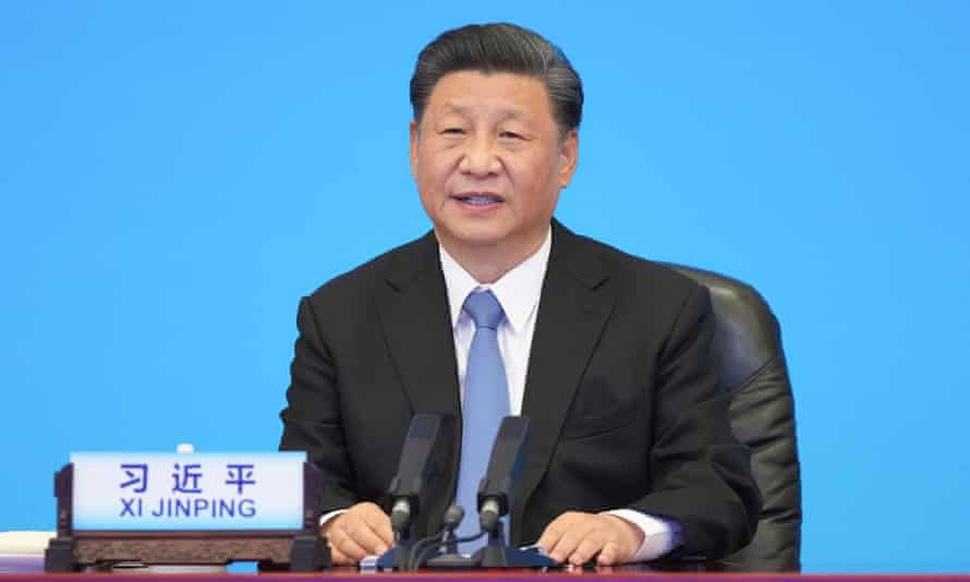 Xi Jinping addresses the summit from Beijing