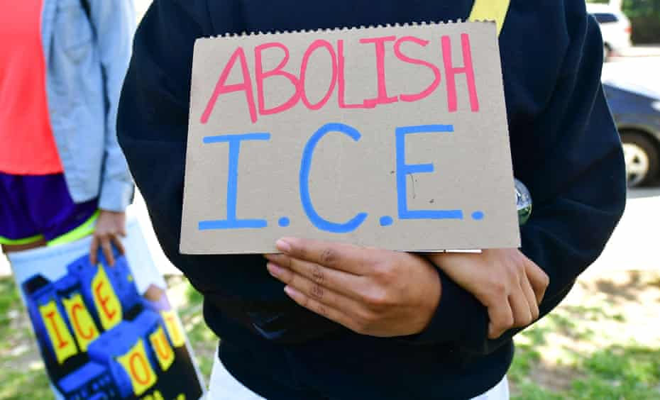Activists gather in Los Angeles for a rally urging Joe Biden to abolish Ice.