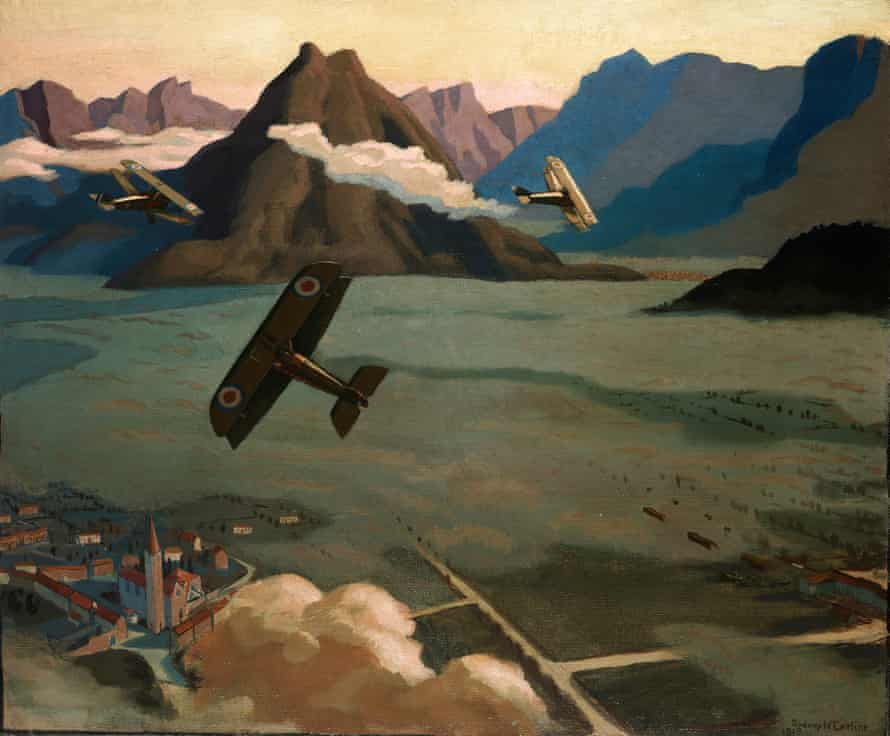 'Made on the wing': British Scouts leaving their Aerodrome on Patrol, over the Asiago Plateau, Italy, 1918 by Sydney Carline.