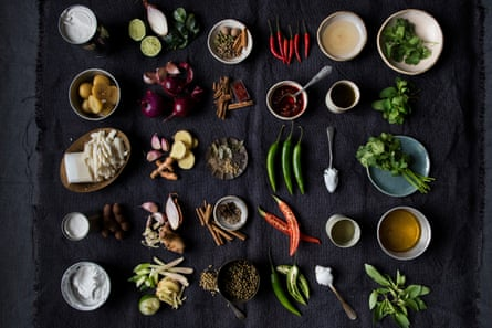 A picture of spices and stuff: Each curry has five elements: aromatics, oil, spices, liquid, chilli and a top note added later.