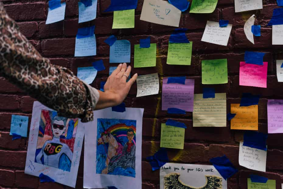 Mourners and admirers left notes on a mural of Supreme Court Justice Ruth Bader Ginsburg on U St. in Washington D.C. Ginsburg, who died on Sept. 18, 2020, will be the first woman to Lay in State this weekend in the in the US Capitol. The mural on U St. was creted by artist Rose Jaffe.