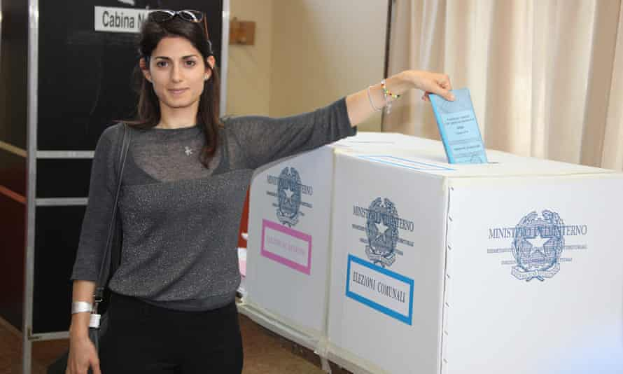 Virginia Raggi, Rome mayoral candidate for anti-establishment Five-Star Movement, casts her ballot for municipal elections.