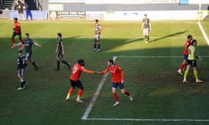 Luton Town's Ryan Tunnicliffe celebrates scoring their side's second goal of the game.