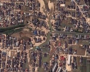 A satellite image of buildings north of Kurashiki