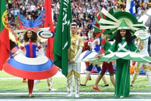 Actresses sporting the colours of Russia and Saudi, the two teams who will compete in the opening match