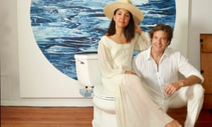 Miki Agrawal and Jason Ojalvo of Tushy, with one of their bidet attachments (just seen in blue)