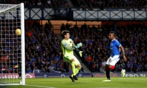 Alfredo Morelos scores this second and Rangers' third