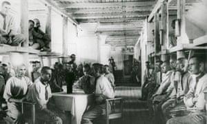 Prisoners in the Vorkuta gulag, Russia, in 1945.