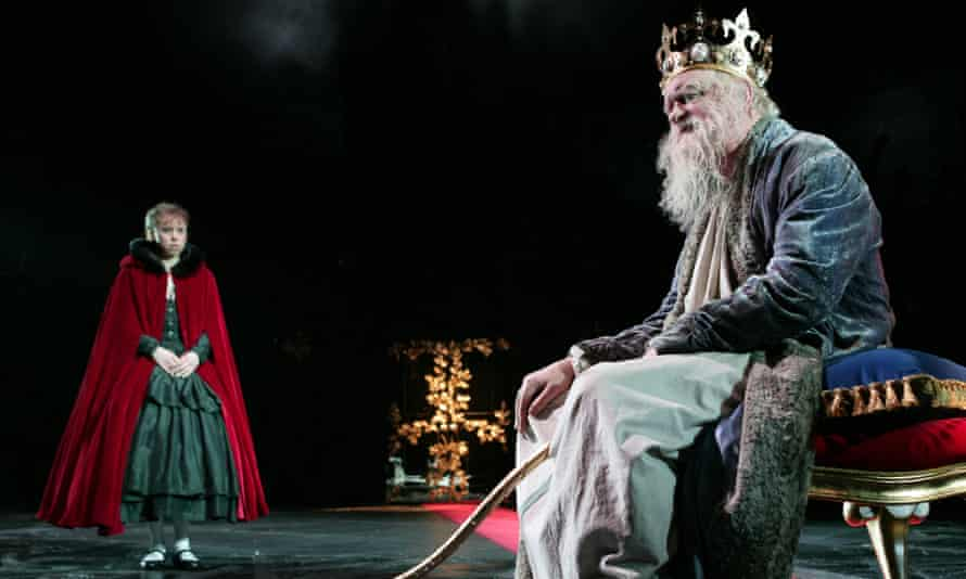 Reaching into a poetic past … Michelle Terry as Helena and Oliver Ford Davies as the King of France.