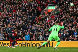 Mohamed Salah fires high and wide from a poition where Ederson and Aymeric Laoprte must have feared the worst.