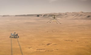 An artist's impression of the Perseverance rover and the Ingenuity helicopter.