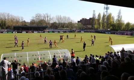 Dulwich Hamlet in action at their Champion Hill stadium in south London.