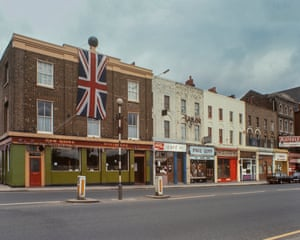 The New Globe, Mile End Road, 1977The draped Union Jack is to celebrate the Queen's silver jubilee