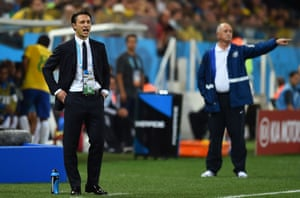 Niko Kovac, pictured with Luiz Felipe Scolari during Croatia's 3-1 defeat to Brazil at the 2014 World Cup, was fired by Croatia and is now managing Bayern Munich.
