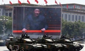 An image of Xi Jinping overlooks a parade marking the 70th anniversary of Japan's surrender at the end of the Second World War.