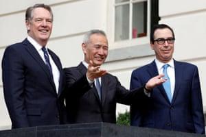 China's Vice Premier Liu He (centre), U.S. Trade Representative Robert Lighthizer (left) and Treasury Secretary Steve Mnuchin (right) held constructive talks on trade last Friday