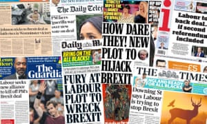 Front pages of the UK papers on Monday 21 October 2019