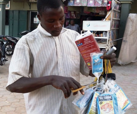 A trader sells bags of rat poison in northern Nigeria's largest city of Kano