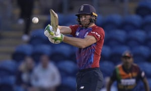England's Jos Buttler hits 4 runs off the bowling of Sri Lanka's Isuru Udana.