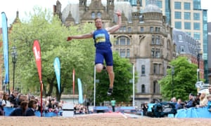 The long jumper Greg Rutherford competing in the GreatCity Games in Manchester