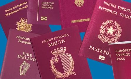 Various European passports