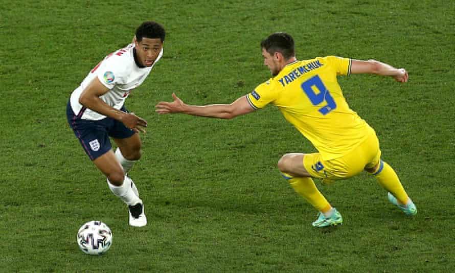 Jude Bellingham glides away from Ukraine's Roman Yaremchuk during England's Euro 2020 quarter-final win.