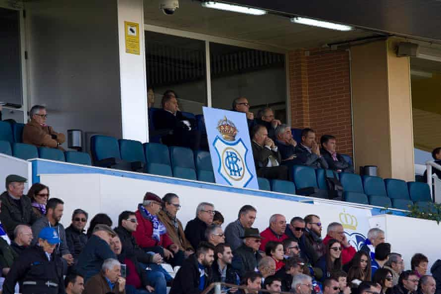 The vacant presidential box in the game against UD Almería B