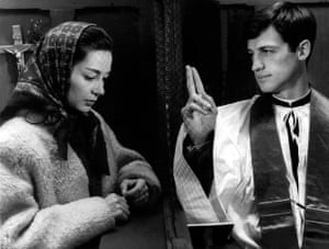 Emmanuelle Riva and Jean-Paul Belmondo in Léon Morin, prêtre, 1961