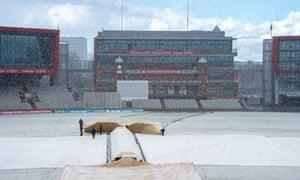 Snow at Old Trafford.