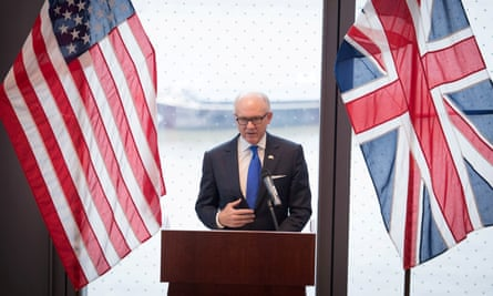 The United States ambassador to the UK, Woody Johnson, speaking in London.