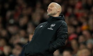 Freddie Ljungberg can hardly bear to look during Arsenal's 2-1 home defeat by Brighton.