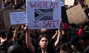 A protest against gender-based violence outside South Africa's parliament in Cape Town