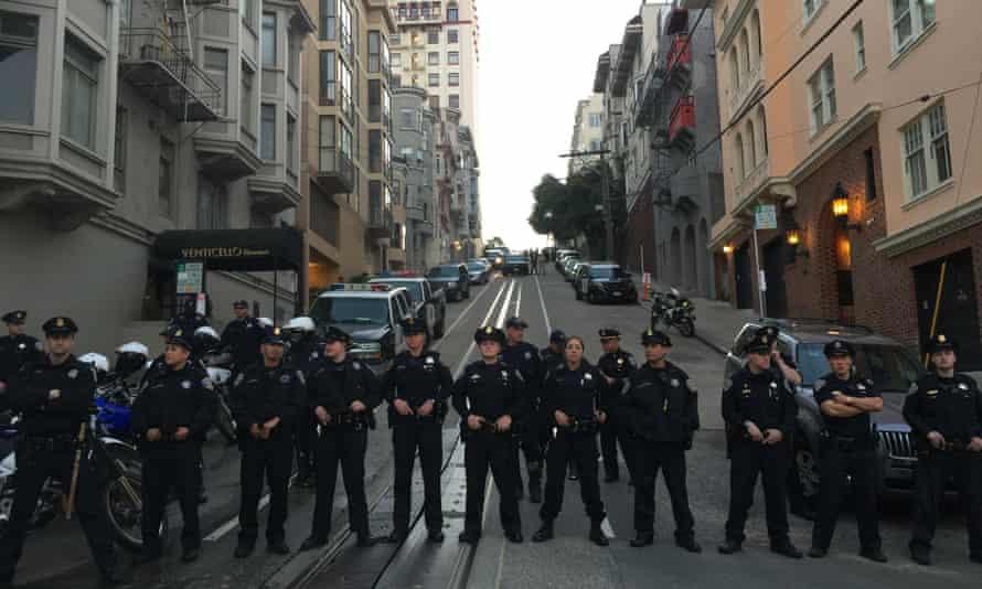 Police near the fundraiser.