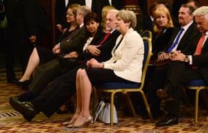 London, England Theresa May sits next to Jeremy Corbyn