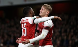 Emile Smith Rowe (right) celebrates with Ainsley Maitland-Niles after scoring Arsenal's second goal against Blackpool.