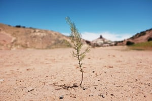 A dry landscape in Navajo Nation lands in the town of Gallup, New Mexico