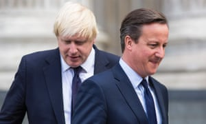 David Cameron (R) and London Mayor Boris Johnson leaving St Paul's Cathedral