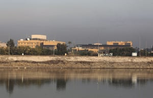"The US embassy by the Tigris river in Baghdad. American citizens in Iraq were urged to ""depart immediately"""