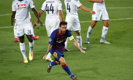 Barcelona's Lionel Messi celebrates after scoring his side's second goal