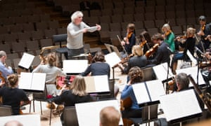Simon Rattle rehearses with the Orchestra of the Age of Enlightenment at the Royal Festival Hall.
