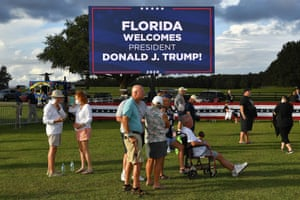 Supporters of Donald Trump gather for rally in The Villages, Florida.