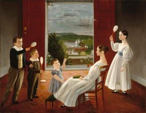The Children of Nathan Starr - Ambrose Adams.   A portrait of Nathan Starr's five children the year that the youngest, three-year-old Edward, died. The doors are open to reveal pots of calla lilies which suggest innocence and rebirth.