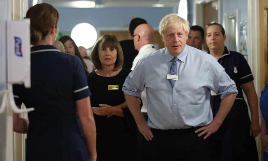 Boris Johnson on a visit to Whipps Cross hospital in east London last week, when he was confronted by a patient's father.