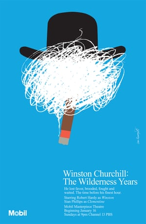 One of Ivan Chermayeff's most frequently reproduced images, for the US broadcast of the TV drama Churchill: The Wilderness Years in 1983, shows a cloud of scratched-out smoke from a lighted cigar obscuring a face, topped by a Homburg hat.