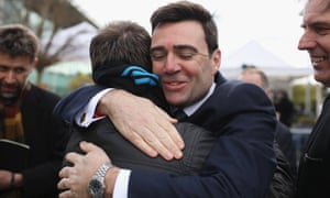 Labour MP Andy Burnham hugs Adrian Tempany after hearing the conclusions of the Hillsborough inquest.