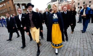 Jimmie Åkesson, pictured in Swedish national dress, leads the anti-immigration Sweden Democrats.